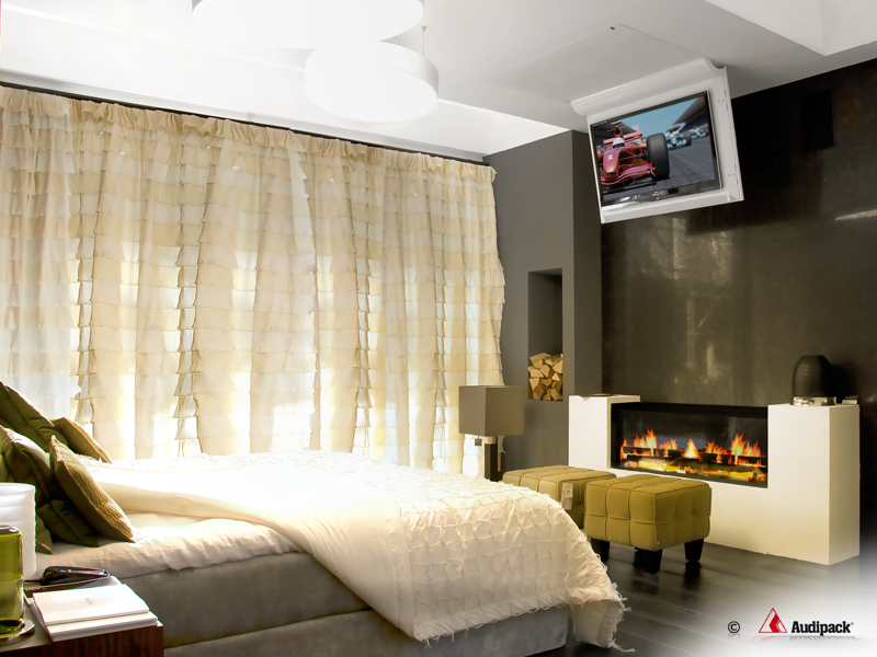 Flat Panel Fold Down Lift System In Bedroom